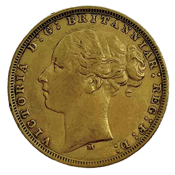 Gold Sovereign - Victoria Young Head 1880 M
