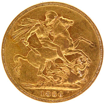 Gold Sovereign - Victoria Young Head - 1886