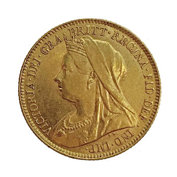 Gold Half Sovereign Victoria Old head