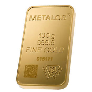 Sealed 100g Gold Bar Metalor