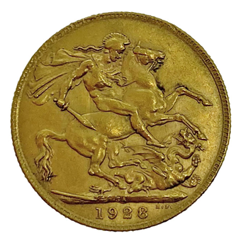 Gold Sovereign - George V- 1928 - South African
