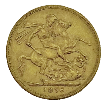 Gold Sovereign -Victoria Young Head 1876 Melbourne