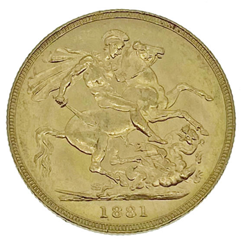Gold Sovereign -Victoria Young Head 1881 Melbourne