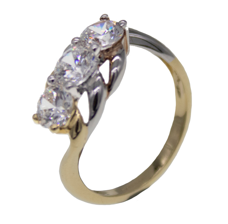 14ct Yellow Gold Trilogy CZ Gemset Ring