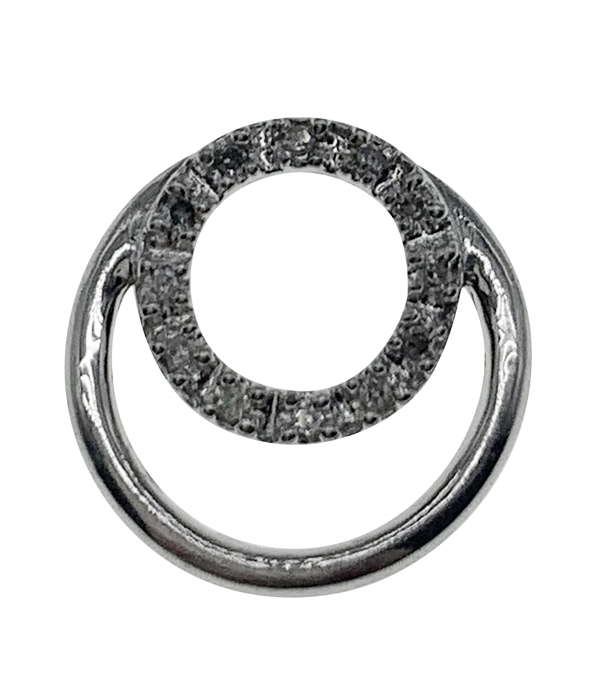 9ct White Gold Circular Diamond Pendant.