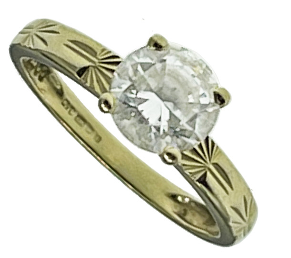 14ct Yellow Gold Round CZ Solitaire Ring
