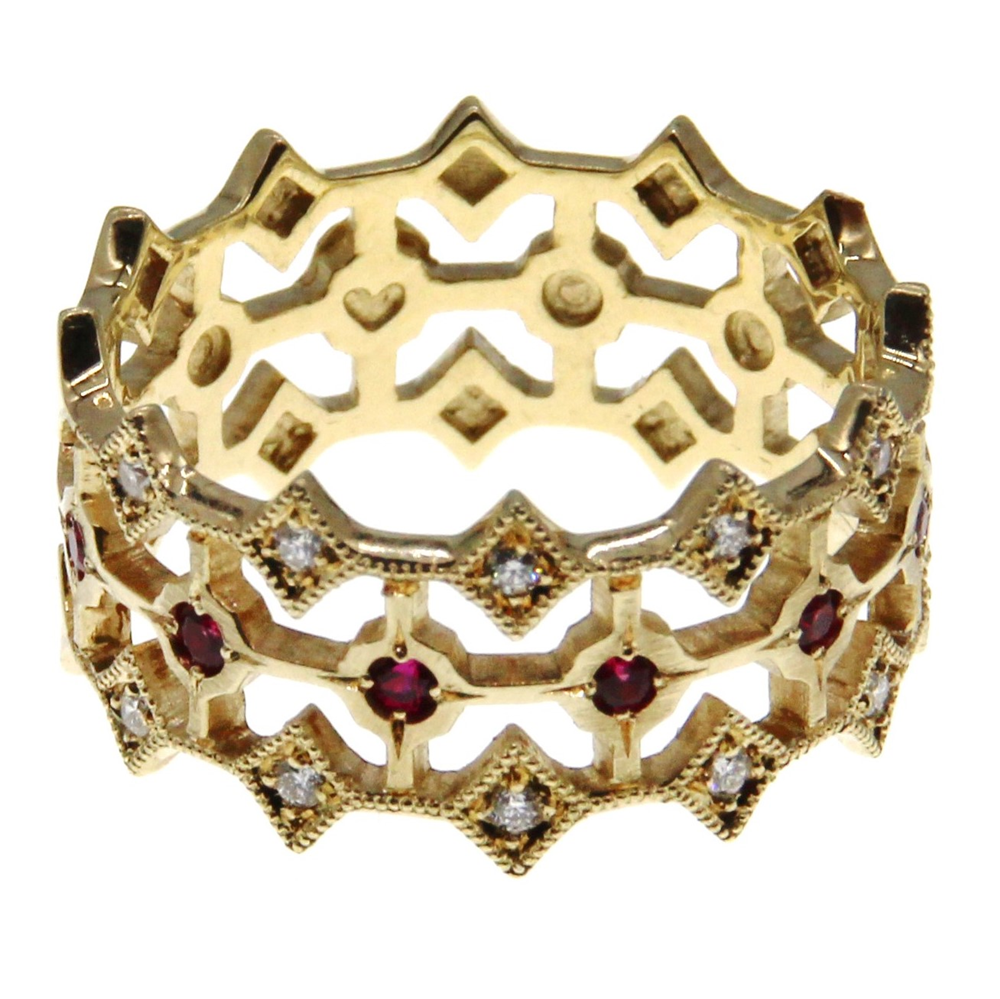 Buy 9ct Yellow Gold Lattice Design Ring