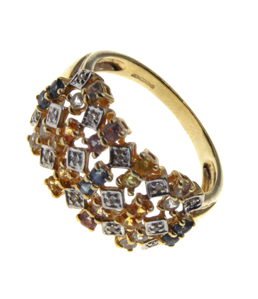 9ct Yellow Gold  Multi Colour CZ Ring