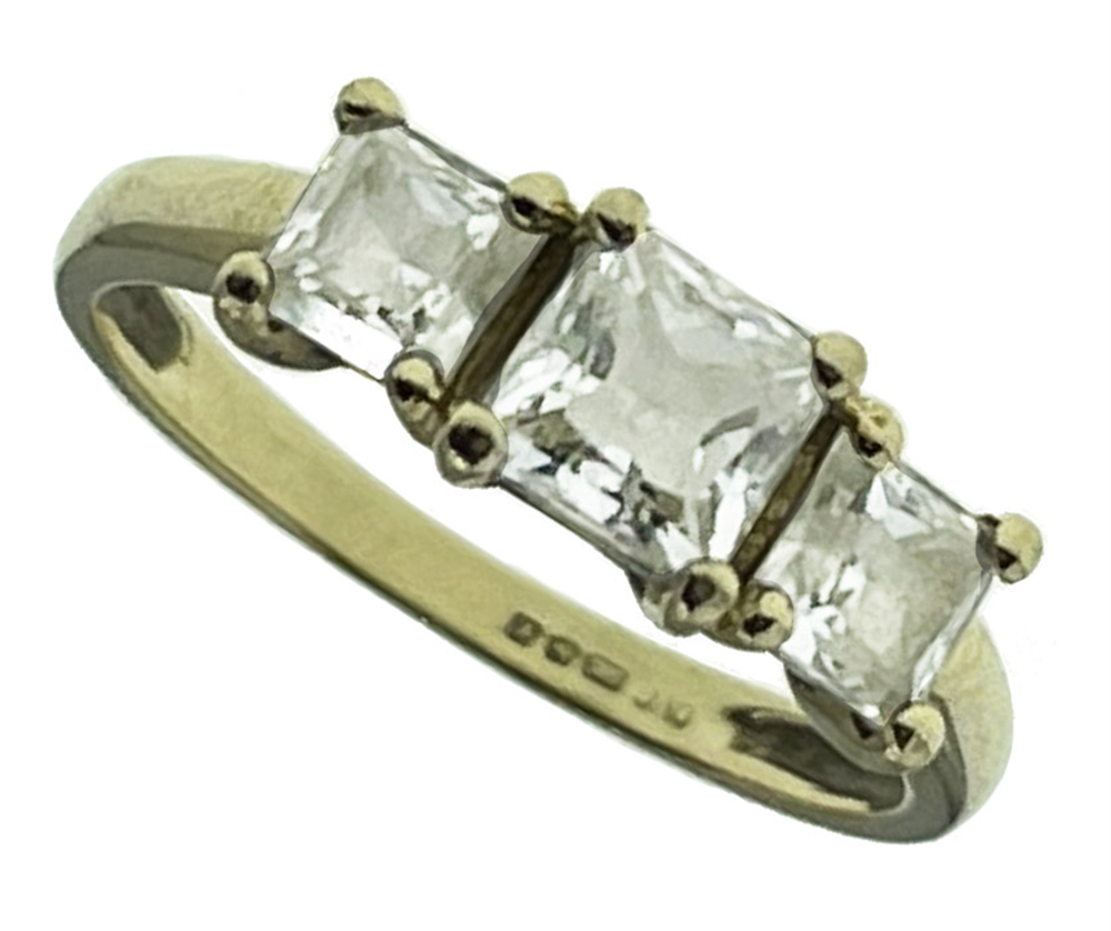 14ct Yellow Gold CZ Trilogy Ring