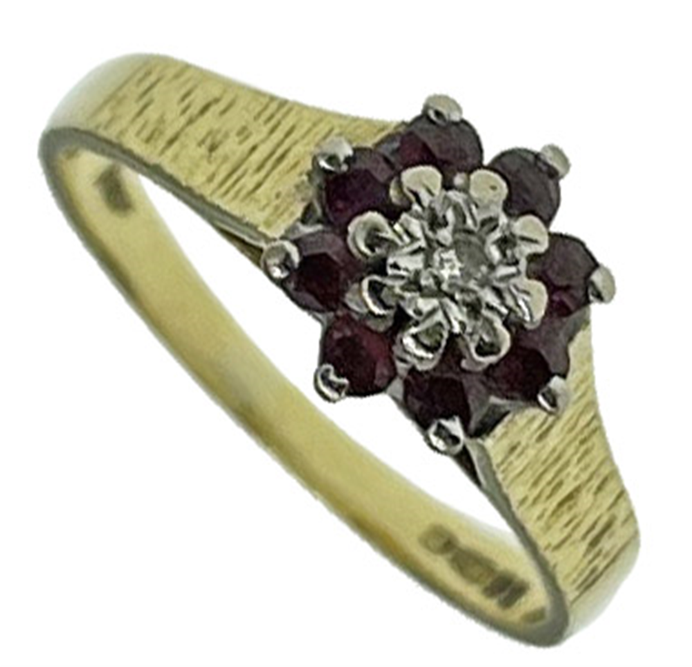 18ct Yellow Gold Ruby Cluster Ring
