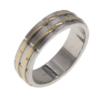 White Gold Wedding Band with Yellow Gold Inlay 6.5mm