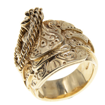 9ct Yellow Gold Heavy Gents Saddle Ring