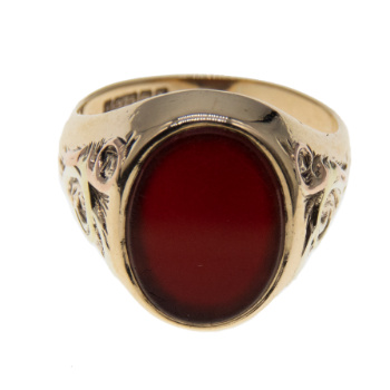 9ct Yellow Gold Oval Carnelian Signet Ring
