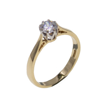 14ct Yellow Gold Solitaire CZ Gemset Ring