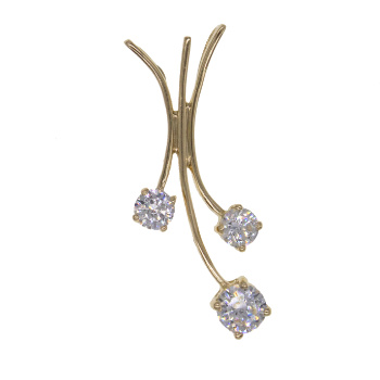 14ct Yellow Gold Three Stone Hanging CZ Gemset Pendant