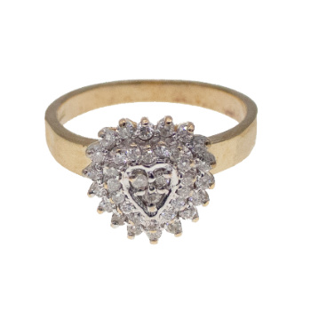 9ct Yellow Gold Heart Shaped 0.30ct Diamond Cluster Ring