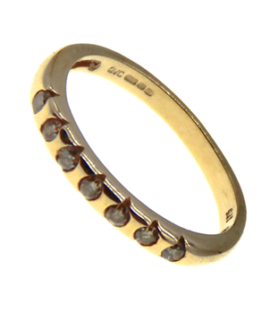 9ct Yellow Gold CZ Half Eternity Ring