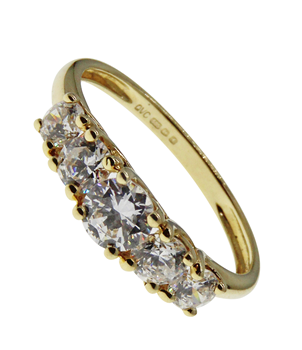 14ct Yellow Gold Cubic Zirconia 5 Stone Ring