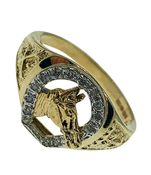 9ct Yellow Gold Diamond Gem Set Horse Ring