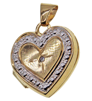 9ct Yellow Gold Heart Shaped Locket Pendant