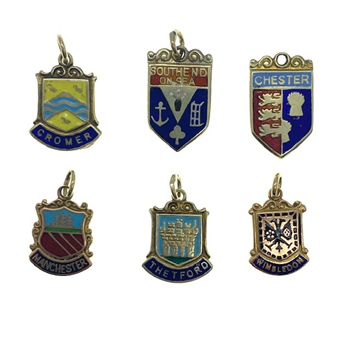 9ct Yellow Gold Travel Shield Charms