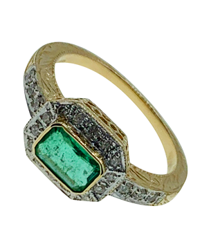 9ct Yellow Gold Diamond & Emerald Ring