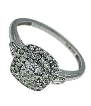 9ct White Gold 0.27ct Diamond Cluster Ring