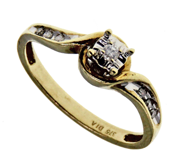 9ct Yellow Gold Illusion Set Solitaire Diamond Ring