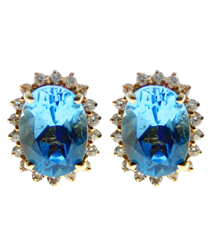 14ct Yellow Gold Blue Topaz & CZ Stud Earrings