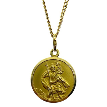 18ct Yellow Gold Curb Chain With St. Christopher