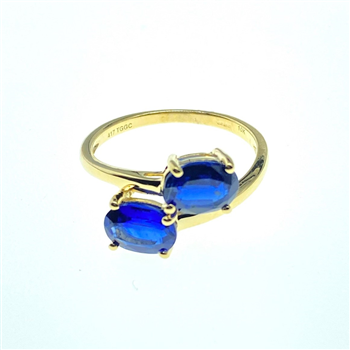 9ct Yellow Gold Blue CZ Ring