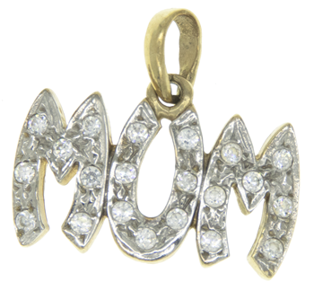 9ct Yellow Gold Cubic Zirconia Mum Pendant