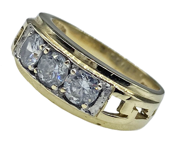 9ct Yellow Gold Cubic Zirconia Trilogy Ring