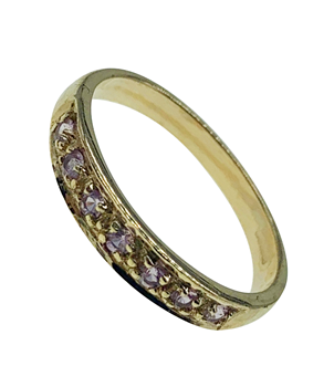 9ct Yellow Gold Pink Gem Set Ring