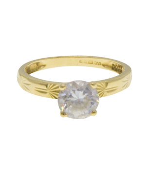 14ct Yellow Gold CZ Solitaire Shoulders Ring