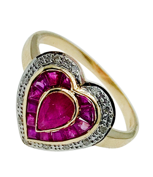 9ct Yellow Gold Diamond & Ruby Heart RIng