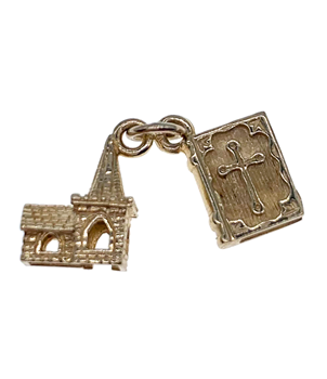 9ct Yellow Gold Church and Bible Charm