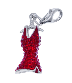 Sterling Silver 925 Red Dress Charm