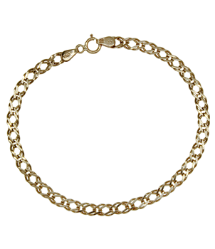 9ct Yellow Gold Double Flat Curb Bracelet