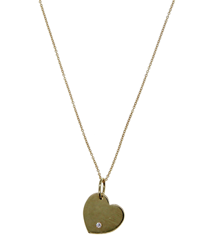 9ct Yellow Gold Stone Set Heart Pendant/Necklace