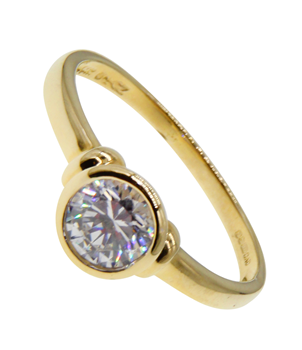 9ct Yellow Gold Round Cubic Zirconia Set Statement Ring