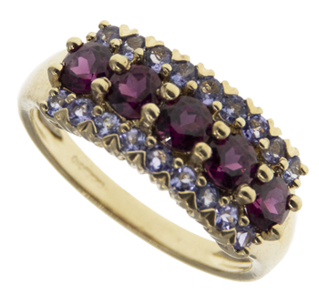 9ct Garnet & CZ Dress Ring