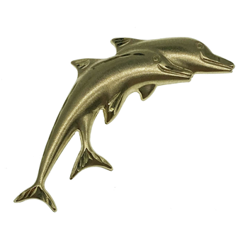 9ct Yellow Gold Dolphins Brooch