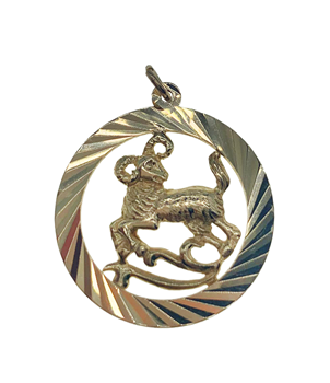 9ct Yellow Gold Aries Medallion