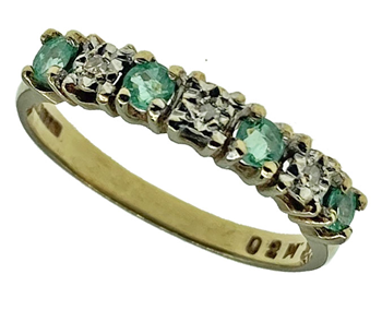 9ct Yellow Gold Emerald and Diamond Claw Set Half Eternity Ring