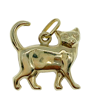 9ct Yellow Gold Cat Charm