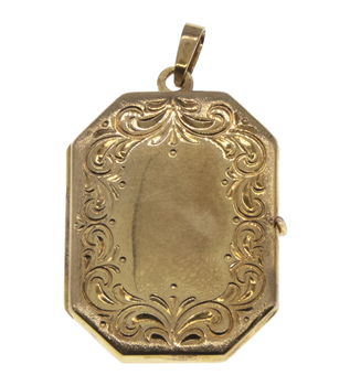 9ct Yellow Gold Large Engraved Locket