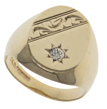 9ct Diamond Set Engraved Signet Ring