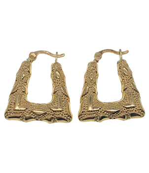9ct Yellow Gold Square Creole Earrings