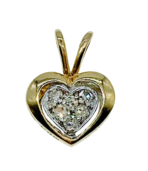 9ct Yellow Gold CZ Heart Charm